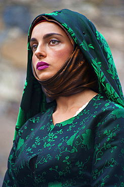 Typical dress of Pabillonis, Procession of Santa Maria de is Aquas, Sardara, Sardinia, Italy, Europe