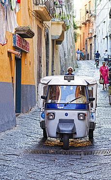 Ape car taxi, Procida island, Campania, Italy, Europe.
