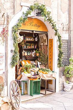 Traditional food store, Cagliari, Sardinia, Italy, Europe