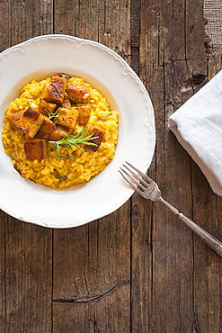 Risotto with saffron, pumpkin and rosemary, Italy, Europe