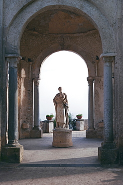 "Temple of Ceres, goddess of the Harvests, whose ""dome on spherical plumes"" pavilion marks the end of the picturesque avenue and the entrance to the famous and incomparable Terrace of Infinity, Ravello, Amalfi Coast, Campania, Italy, Europe"