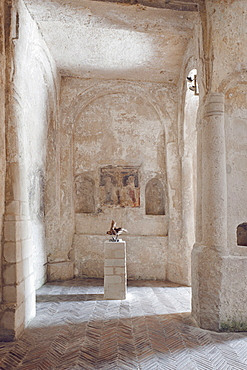 Interrior of the church of San Nicola del Greci, This monastic complex is one of the most important monuments in Matera and is composed of dozens of caves spread over two floors, Matera, Basilicata, Italy, Europe