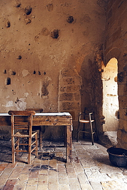 """Dining rooms of the hotel Le Grotte della Civita, It is a hotel housed in ancient cave houses by the projects of """"Sextantio"""", Matera, Basilicata, Italy, Europe"""