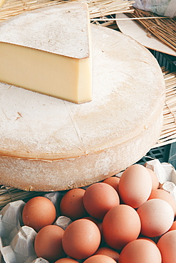 Eggs and cheese at the summer market of Port Grimaud, Provence, France.