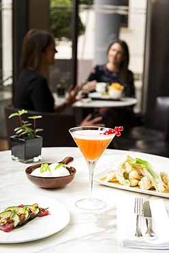 Still life of Bulgari cocktail with smoked mozzarella, seafood and fried vegetables at Il Bar inside Bulgari Hotel, Milan, Lombardy, Italy, Europe