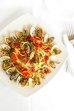 Spaghetti with Pachino cherries tomatoes, fresh clams, extra vergin olive oil and parsley