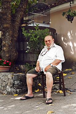 Portrait of the owner Michele, Il Giardino Di Epicuro restaurant, the epicurean garden, Maratea, Basilicata, Italy, Europe