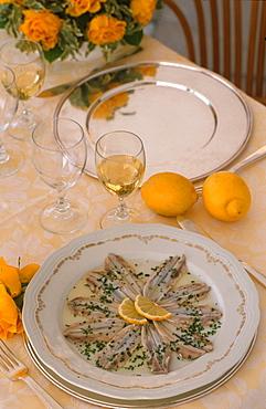 Marinated anchovies, Camogli, Liguria, Italy
