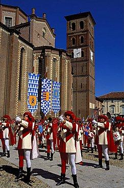 Trumpeters, Piazza della Cattedrale, Palio di Asti, Asti, Piemonte, Italy