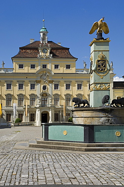 The inner courtyard Palace buildings and fountain at the 18th century Baroque Residenzschloss, inspired by Versailles Palace, Ludwigsburg, Baden Wurttemberg, Germany, Europe
