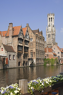 View over a canal of traditional Flemish gables and the Belfry, Brugge, UNESCO World Heritage Site, Belgium, Europe