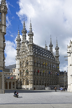 The 15th century late Gothic Town Hall in the Grote Markt, Leuven, Belgium, Europe