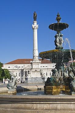 The Dom Pedro IV Monument in Rossio Square, Lisbon, Portugal, Europe