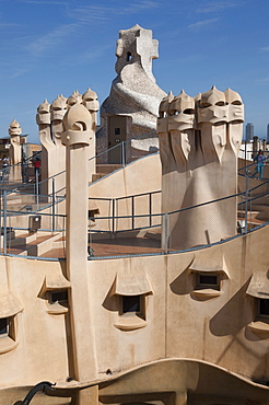 Group of grotesque chimneys on the roof of La Pedrera (Casa Mila), UNESCO World Heritage Site, Passeig de Gracia, Barcelona, Catalunya, Spain, Europe