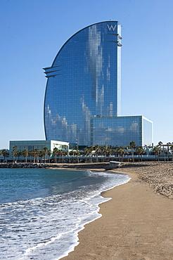 W Hotel, Sant Sebastia, Barceloneta, Barcelona, Catalunya, Spain, Mediterranean, Europe