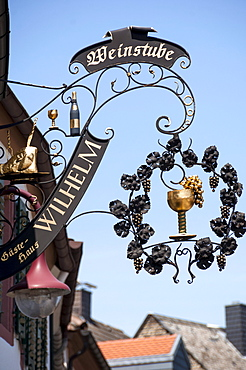 Winehouse sign in Maikammer, Sudliche Weinstrasse, Rhineland Palatinate, Germany, Europe