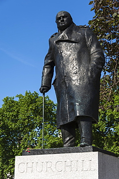 Statue of Sir Winston Churchill, Parliament Square, London, England, United Kingdom, Europe
