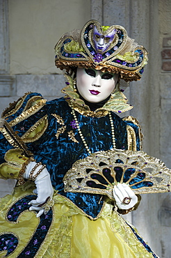 Lady in blue and gold, with fan, Venice Carnival, Venice, Veneto, Italy, Europe