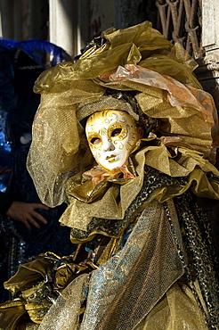 Lady in gold, Venice Carnival, Venice, Veneto, Italy, Europe