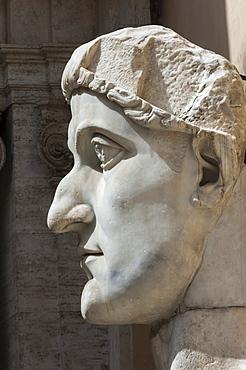Head of Constantine 1, dated AD 4, Capitoline Museum, Ancient Rome, Rome, Lazio, Italy, Europe