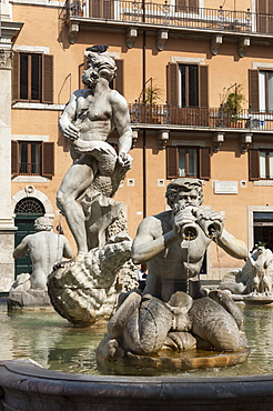 Fontana del Moro, by Bernini, Piazza Navona, Rome, Lazio, Italy, Europe