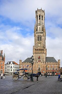 Belfry, Market Place, Bruges, UNESCO World Heritage Site, Belgium, Europe