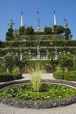 Floral terraces, Isola Bella, Lake Maggiore, Stresa, Borromean Islands, Italian Lakes, Piedmont, Italy, Europe