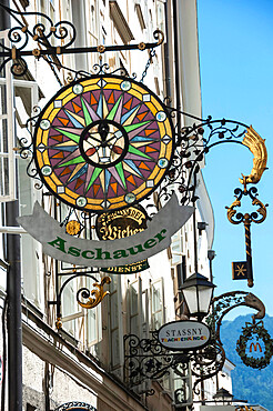 Elaborate Shop Sign, Getreidegasse, Altstadt, Mozarts Birthplace, World Heritage Site, Salzburg, Auistria, Europe, EU