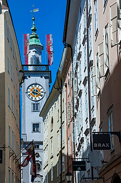 Townhall Clock Tower, Salzburg, Mozarts Birthpalce, Austria, Europe, EU