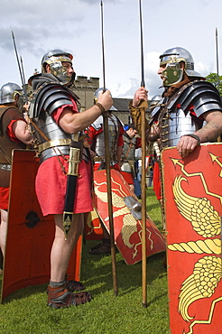 Two members of the Ermine Street Guard in conversation, Birdoswald Roman Fort, Hadrians Wall, Northumbria, England, United Kingdom, Euruope