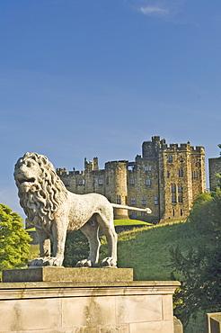 Alnwick Castle from the Lion Bridge, Alnwick, Northumberland, England, United Kingdom, Europe