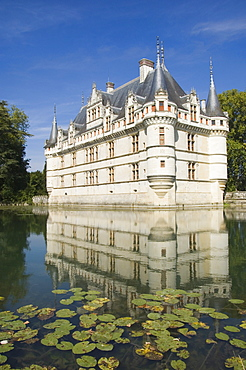 The 16th century moated Chateau d'Azay le Rideau, Indre-et-Loire, Loire Valley, France, Europe