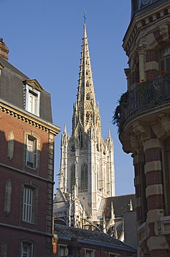 The tower and cast iron spire of 1876 of the Cathedrale Notre Dame, Rouen, Haute Normandie, France, Europe
