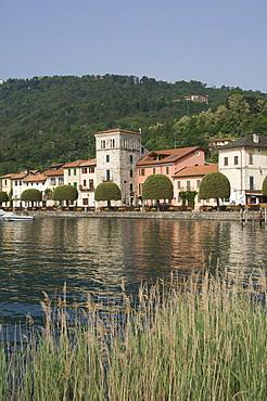 Lakeside promenade at Pella, Lake Orta, Piedmont, Italy, Europe