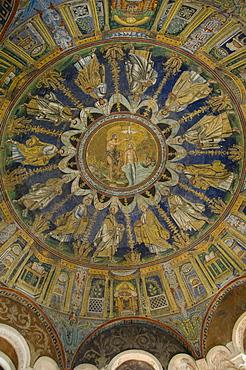 The mosaic ceiling of the 5th century Battistero Neoniano, UNESCO World Heritage Site, Ravenna, Emilia-Romagna, Italy, Europe