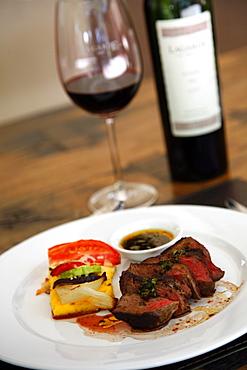 Filet mignon dish at the upmarket restaurant of Lagarde winery, Lujan de Cuyo, Mendoza, Argentina, South America