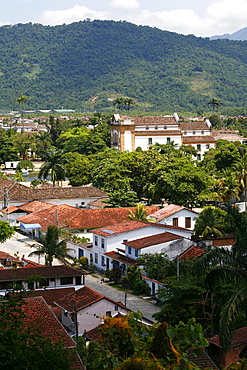 View over Paraty (Parati) seen from the fort, Rio de Janeiro State, Brazil, South America