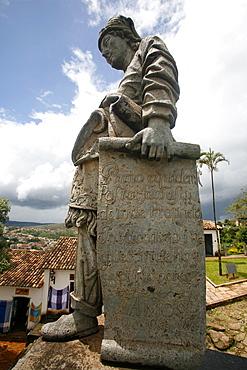 The statue of the prophet Jeremiah by Aleijadinho at the Basilica do Bom Jesus de Matosinhos, UNESCO World Heritage Site, Congonhas, Minas Gerais, Brazil, South America