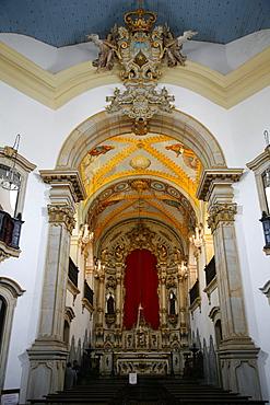 Interior of Igreja Nossa Senhora do Carmo (Our Lady of Mount Carmel) church, Ouro Preto, UNESCO World Heritage Site, Minas Gerais, Brazil, South America