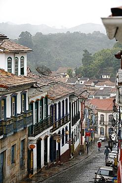 Street scene in Ouro Preto, UNESCO World Heritage Site, Minas Gerais, Brazil, South America