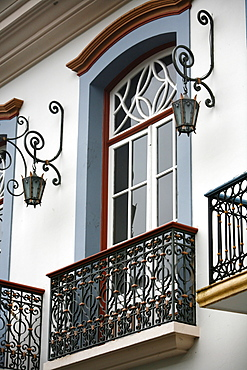 House facade of colonial building in Ouro Preto, UNESCO World Heritage Site, Minas Gerais, Brazil, South America