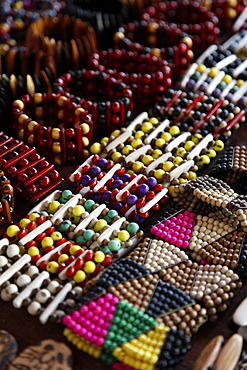 Crafts for sale at the souvenir shop of the Pataxo Indian people at the Reserva Indigena da Jaqueira near Porto Seguro, Bahia, Brazil, South America
