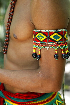 Detail of the costume of the Pataxo Indian people at the Reserva Indigena da Jaqueira near Porto Seguro, Bahia, Brazil, South America