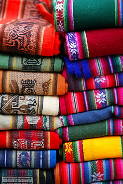 Local carpets made of llama and alpaca wool for sale at the market in Purmamarca, Quebrada de Humahuaca, Jujuy Province, Argentina, South America