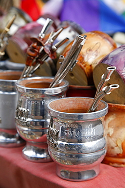 Mate cups for sale at the market in Purmamarca, Quebrada de Humahuaca, Jujuy Province, Argentina, South America