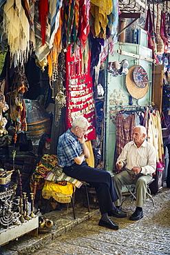 Arab souk, covered market, in the Muslim Quarter in the Old City, Jerusalem, Israel, Middle East
