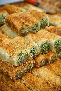 Baklava, an Arab sweet pastry, Mahane Yehuda market, Jerusalem, Israel, Middle East