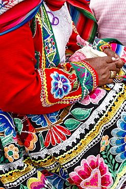 Detail of a traditional Quechua dress, Cuzco, Peru, South America