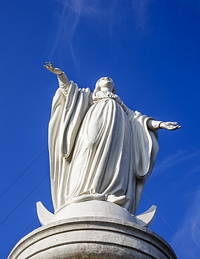 Virgin Mary statue at Cerro San Cristobal, Santiago, Chile, South America