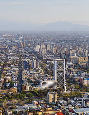 View over Plaza Baquedano and the Telefonica Tower, Cerro San Cristobal, Santiago, Chile, South America